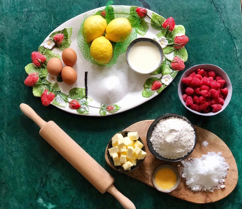 ingrediënten citroen-frambozentaart