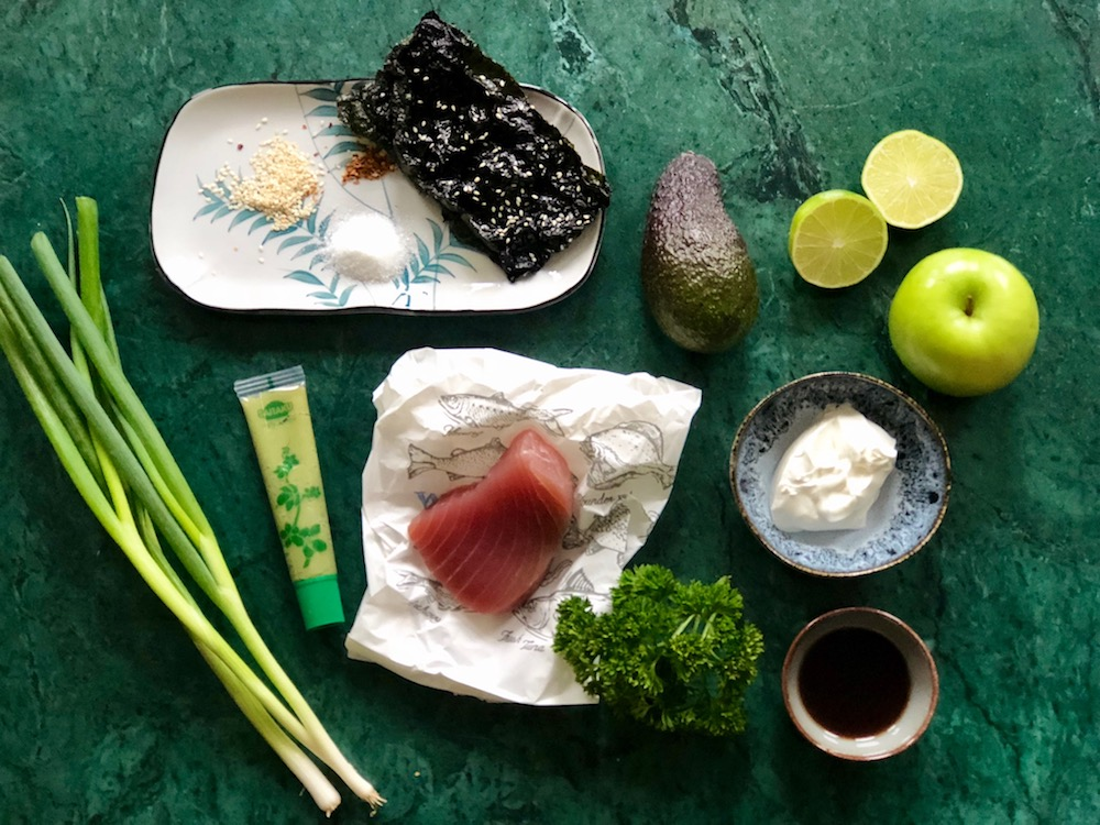 Ingrediënten tonijntartaar appelgranita
