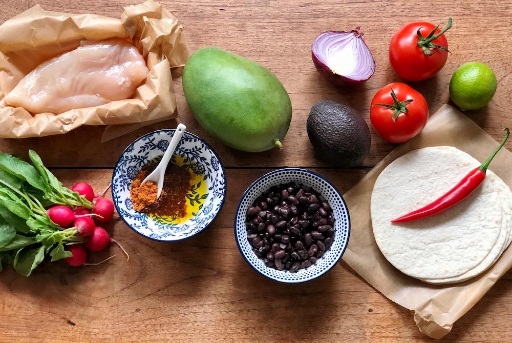 Ingrediënten tortilla's pulled chicken