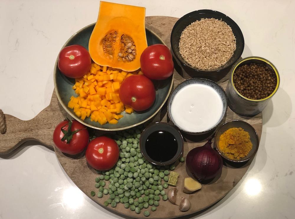 ingredienten pompoen linzen curry