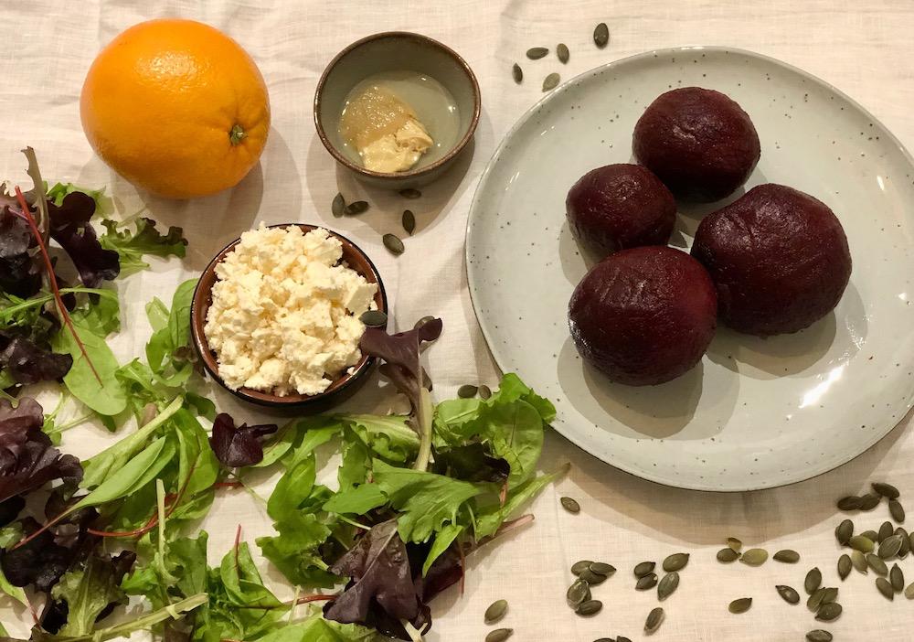 ingrediënten bieten citrus salade