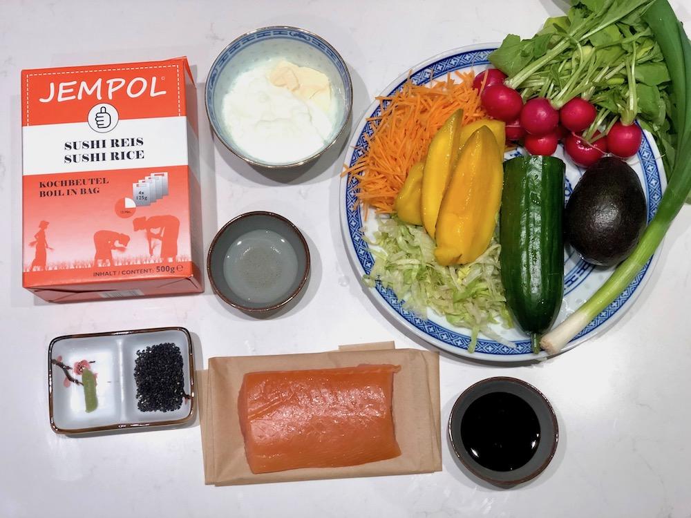 Ingrediënten sushi bowl wayo saus