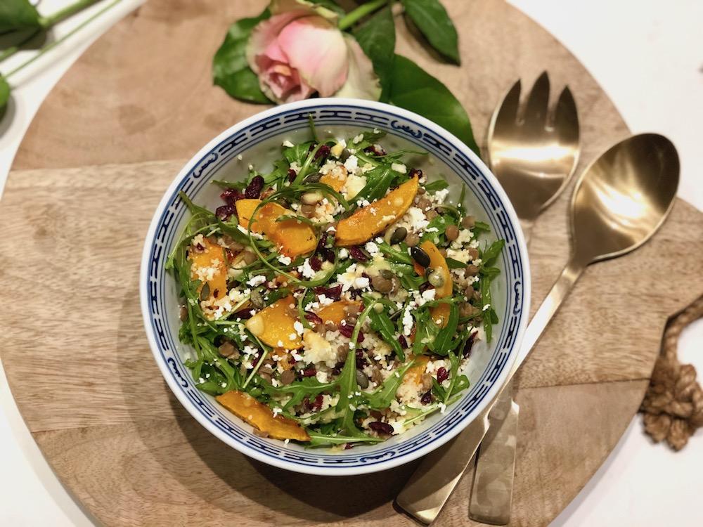 Kleurrijke Pompoen & Linzen salade