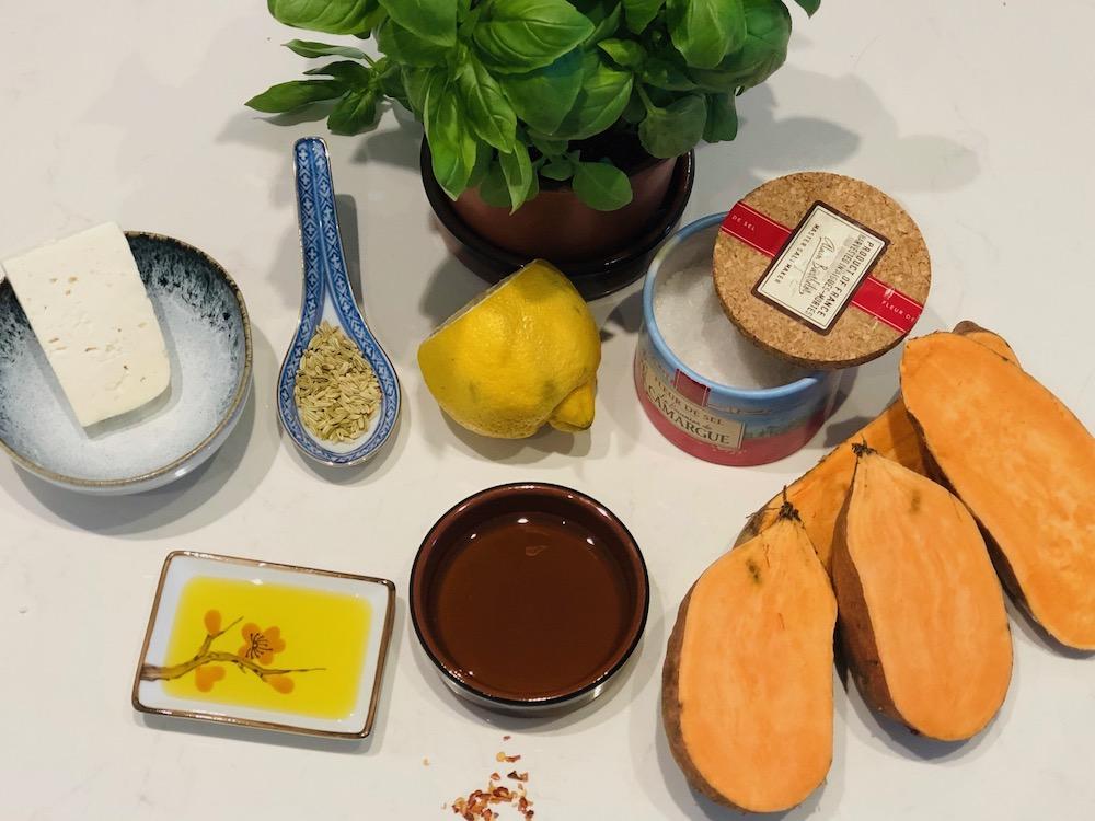 Ingredients sweet potato feta puree lemon basil oil